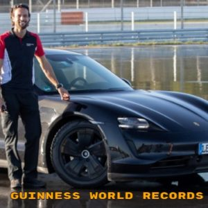 Guinness World Records Drift With Electric Porsche Taycan
