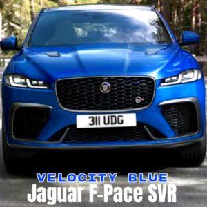 2021 Jaguar F Pace SVR in Velocity Blue