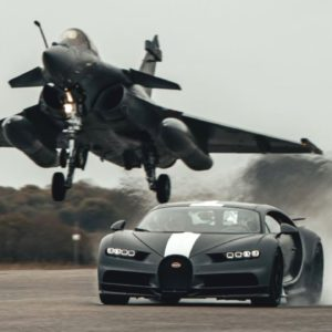 Bugatti Chiron Sport and French Fighter Jet